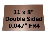 "Copper Clad FR4 .047"" 2-Side PCB 11 x 8"" ½oz/18µm"