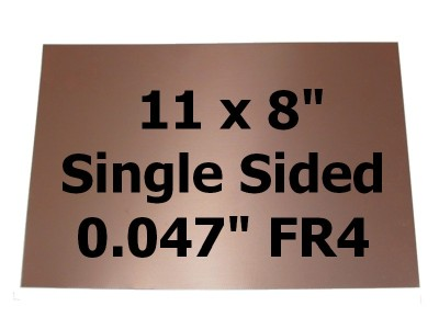"Copper Clad FR4 .047"" 1-Side PCB 11 x 8"" ½oz/18µm"