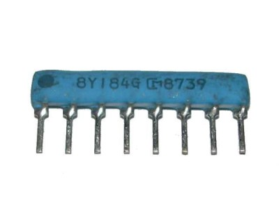 Resistor Network 180k Ohm x4 SIP8 Isolated M18 184