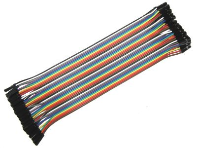 Female Color Ribbon Flat Cable Jumper Dupont 40-Wire 20cm 1P-1P 2.54mm